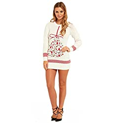 More Designs! Knitted Ladies Christmas Dress Womens Sweater Ugly/Funny Tunic Top by You Look Ugly Today Christmas Bauble-Medium