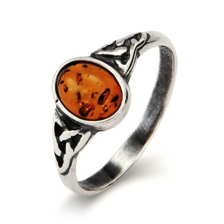 Petitte Sterling Silver Oval Amber Ring with Celtic Design Size 8 (Sizes 5 6 7 8 9 Available)