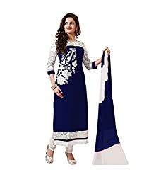 Blue Georgette Embroidered Straight Semi Stitched Salwar Suit