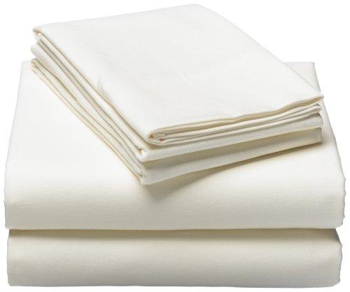 Pinzon Signature 190-Gram Cotton Velvet Flannel Sheet Set, King, Cream front-1054507