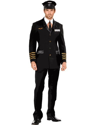 Mens Captain Pilot Costume Theatre Costumes Military Airforce Uniform Jet Hugh J