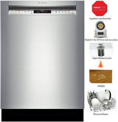 "Bosch She68Tl5Uc 800 24"" Stainless Steel Semi-Integrated Dishwasher - Energy Star"