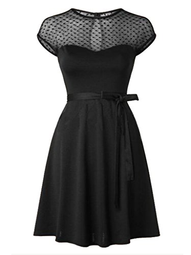 Blooming Jelly Women's Retro 50s Style Swing Dress Black