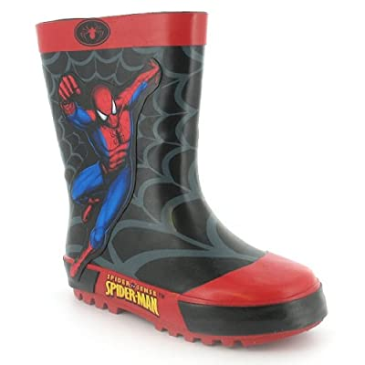 Boys Spiderman Rubber Wellington Boots - Black/Red - UK 6-1