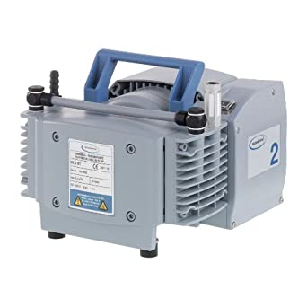 "BrandTech 732000 PTFE MZ2 NT Diaphragm Vacuum Pump with CEE Plug, 230V Power Supply, 1.30cfm Pumping Speed, 9.41"" Width x 7.80"" Height x 9.57"" Depth"