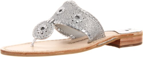 Jack Rogers Women's Glitter Navajo Thong Sandal,Silver/Silver,9 M US