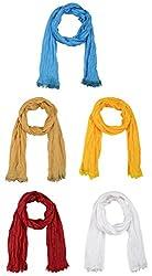 Fabkart Women's Synthetic Dupatta (Pack of 5) (cottondu5matka_Multi-Coloured_Free size)