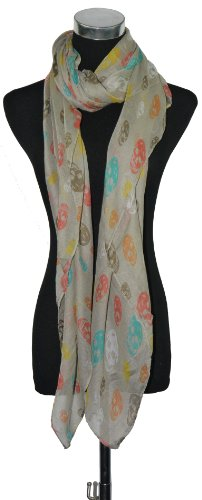 Large Beige with Multi Colour Skulls Print Chiffon Scarf or Sarong