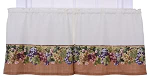 Ellis Curtain Kitchen Collection Tuscan Hills Grapes 60 by 24-Inch Tailored Tier Curtains, Natural