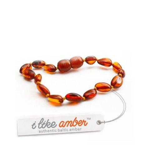 14-15cm Genuine Baltic Amber Teething Bracelet Anklet - Baby Toddler Child size - Cognac Bean Shape Beads - Great New Mum or Christening Gift + Free Organza Gift Bag