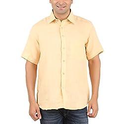 Gm Men's Formal Shirt (GM6007_Light Orange_38)