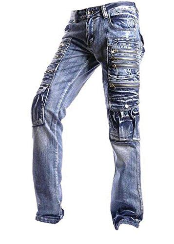 Jeansian Moda Pantaloni Casual Uomo Jeans Denim Sottile Uomini J002 Blue W36