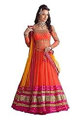 Krishna Emporia Orange Net Wedding Lehenga Choli