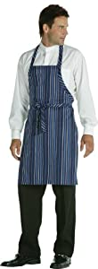 Chef Works A500 Striped Bib Apron Navy, French Blue and White 34-Inch L By 24-Inch W