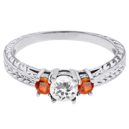 0.59 Ct Round White Topaz Orange Sapphire 14K White Gold 3-Stone Ring