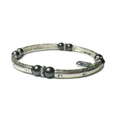 Magnetic Hematite Healing Stretch Bracelet with Crystals