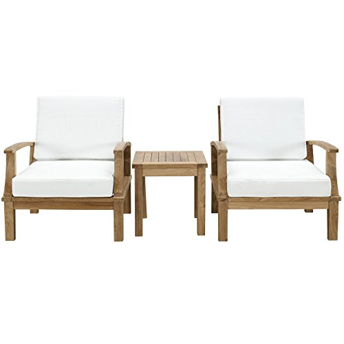 Modway 3-Piece Marina Outdoor Richly Textured Patio Teak Sofa Set, Natural White