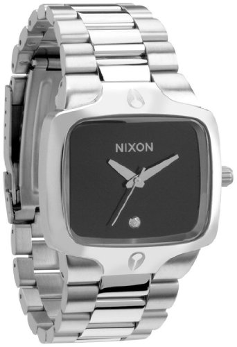 Nixon Men's Player A140000-00 Silver Stainless-Steel Quartz Watch with Black Dial