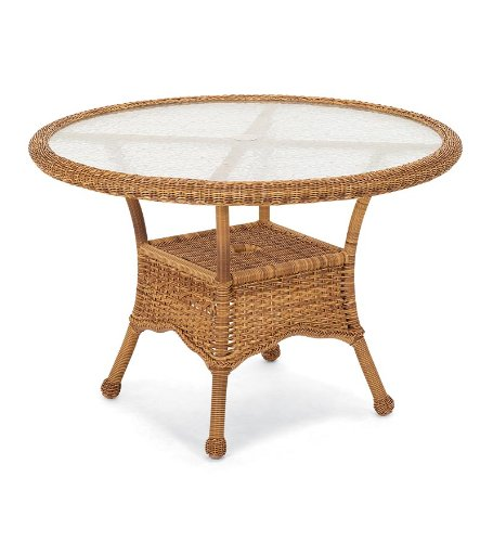 Prospect Hill Handwoven Resin Wicker Outdoor Round Dining Table in Light Brown picture