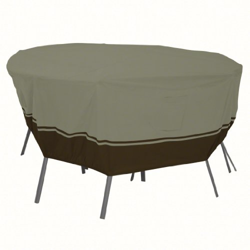 Classic Accessories Villa 55-028-043801-EC Round Table and Chair Set Cover, Large, Birch with Walnut Accent