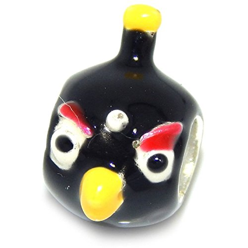 925 Solid Sterling Silver Black Angry Bird Charm Bead
