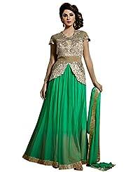 Shonaya Beige & LimeGreen Colour Patch Work Net Semi Stitch Anarkali Salwar Suit
