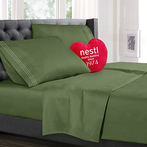Bed Sheet Bedding Set, 100% Soft Brushed Microfiber with Deep Pocket Fitted Sheet - CAL KING - CALLA GREEN - 1800 Luxury Bedding Collection, Hypoallergenic & Wrinkle Free Bedroom Linen Set By Nestl Bedding (California Queen Sheet Set compare prices)