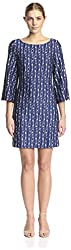 JB by Julie Brown Women's Merrie Printed Shift Dress, Navy, L