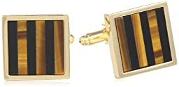 Stacy Adams Men\'s Square Cuff Link With Onyx and Tiger Eye Stripe, Gold, One Size