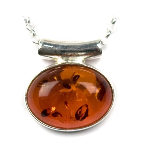 Honey Amber Sterling Silver Oval Pendant Rolo Chain 18