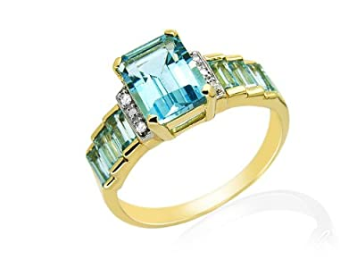 9ct Yellow Gold Blue Topaz and 0.020ct Diamond Ring