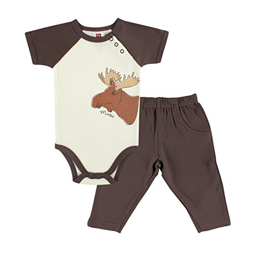 Touched by Nature Baby-Boys Organic Bodysuit and Pant Set, Moose, 9-12 Months