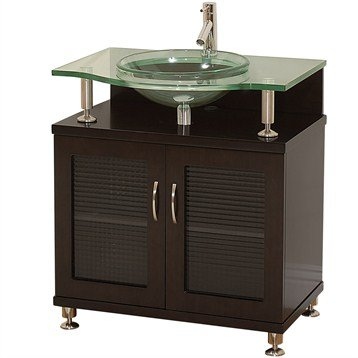 Charlton 30 Inch Bathroom Vanity - Doors Only - Espresso w/ Clear or Frosted Glass Countertop
