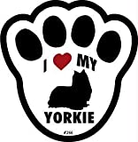 I Love My Yorkshire Terrier Pawprint Window Decal w/Suction Cup