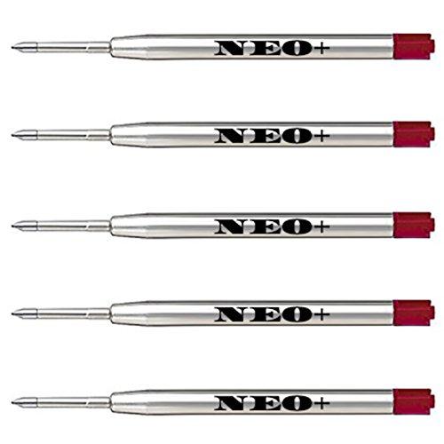 Lot de 5 recharges de stylos à bille compatibles avec Parker rouge