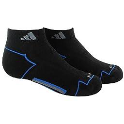 adidas Boys Climacool II Low Cut Socks (Pack of 2), Black/Bright Royal/Vista Grey, Medium