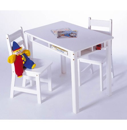 Lipper International 534W Child's Rectangular Table and 2-Chair Set, White