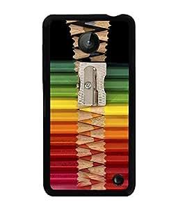 PRINTVISA Pattern With pencil Art Premium Metallic Insert Back Case Cover for Nokia Lumia 630 - D5930