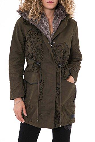 DESIGUAL - Giacchetto piumino cappotto con cappuccio da donna tati 46 (xxl) verde scuro