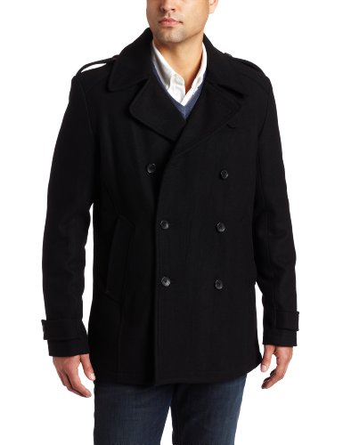 Calvin Klein Sportswear Men's Melton Wool Basic Peacoat, Black, XX-Large