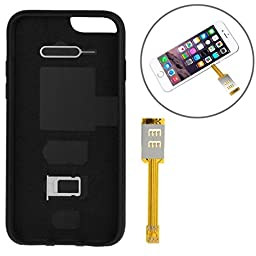Kumishi Dual SIM Card Adapter with a Back Case Cover for iPhone 6s (Black)