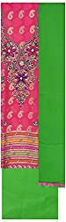Simran Silk Store Women's Silk Cotton Unstitched Dress Material (Pink & Green)