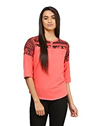 Mayra Women's Crepe Top (1604T09359_XL,Pink ,)