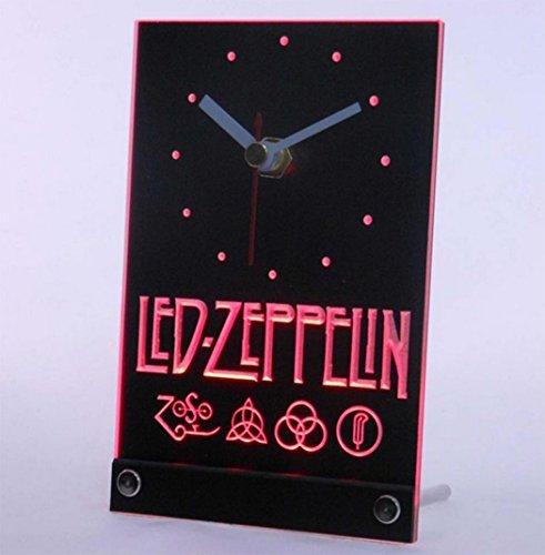 Wisedecor Red Led Zeppelin Rock N Roll Punk Table Desk 3D Led Clock