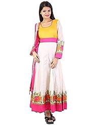 Muskan Women's Cotton Silk Regular Fit Anarkali Salwar Suit (MS -130, Off-white, Large)