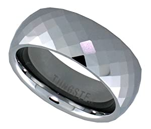 Tungsten Ring 8 mm Faceted Dome Wedding Band Fine Diamond Pattern, sizes 5 to 14