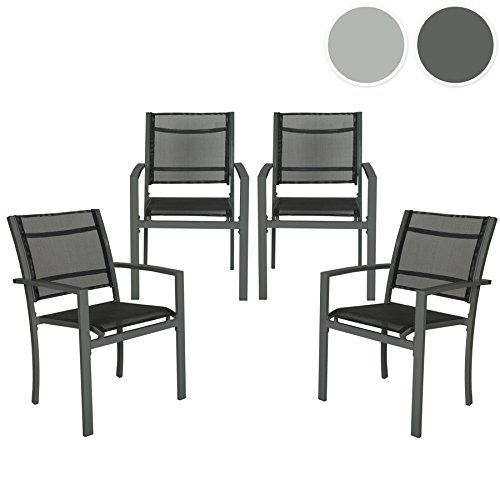 tectake gartenstuhl 4er set metall mit armlehnen stapelbar diverse farben dunkelgrau. Black Bedroom Furniture Sets. Home Design Ideas