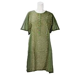 Beautiful Clothes Green Casual Wear Cotton Dress For Women (BCA2050)