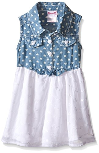 Nannette Little Girls Chambray Top and Chiffon Skirt, Blue/White, 3T
