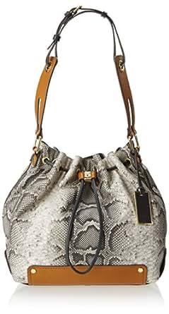Vince Camuto Jill Drawstring Python Shoulder Bag,Safari Python/Cuoio Combo,One Size
